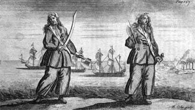 Anne Bonny and Mary Read, female pirates