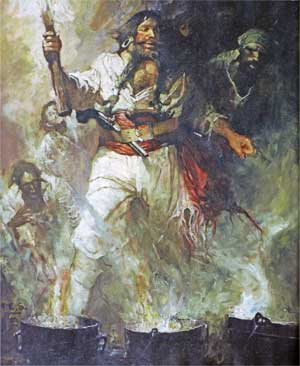 Blackbeard in smoke and flames, painting by Frank E. Schoonover - 1922
