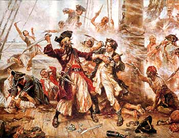 The duel between the pirate Blackbeard and Lieutenant Maynard of the Royal Navy, in Ocracoke